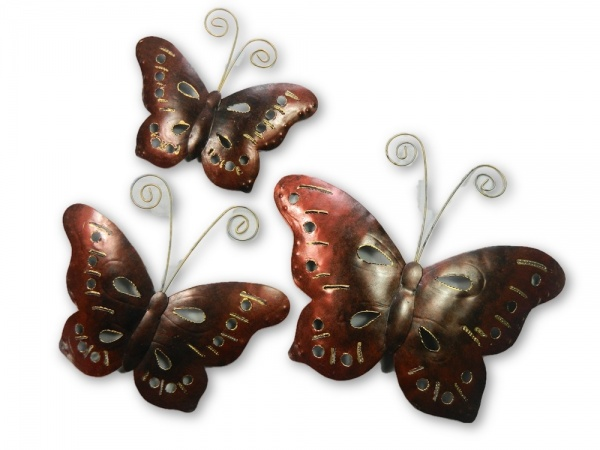 Metal Butterfly Wall Art - Bronze - Set of 3